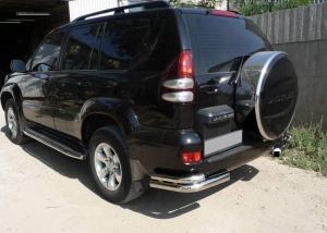 Бокс (чехол) запасного колеса RALEX-TUNING из нержавеющей стали (265/70 R16; 265/65 R17; 265/60 R18) Toyota LAND CRUISER PRADO 120 под резину BRIDGESTONE