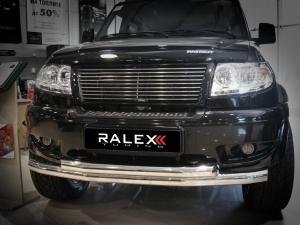 Защита переднего бампера RALEX-TUNING труба двойная 76/63 мм УАЗ ПАТРИОТ (нержавеющая сталь)