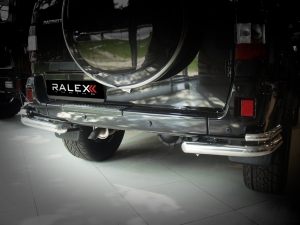 """Защита заднего бампера RALEX-TUNING """"уголки двойные"""" 63.5/43 мм УАЗ ПАТРИОТ (нержавеющая сталь)"""