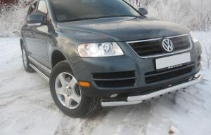 Защита переднего бампера RALEX-TUNING двойная 63.5 мм Volkswagen TOUAREG (2006)